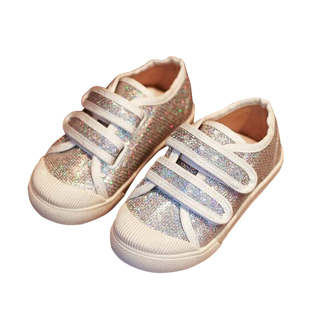 BININBOX Girls Bling Sequins Casual Shoes Breathable Sneakers Kids Shoes (8 M US Toddler, Silver)