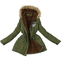 LuckyGirls Manteau Hiver Mode Femme Toison Manche Longue Coton Encapuchonné Court Chaud Poche zippée Veste Manteau