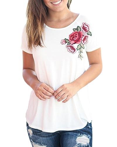 Auxo Camisetas Mujer Verano Cuello Redondo Camisas Algodón Blusa Rosa Impresiones Mangas Corta T Shi...