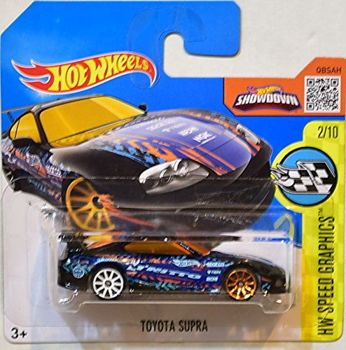 HOT WHEELS 2016 HW SPEED GRAPHICS TOYOTA SUPRA BLACK SHORT CARD 2/10