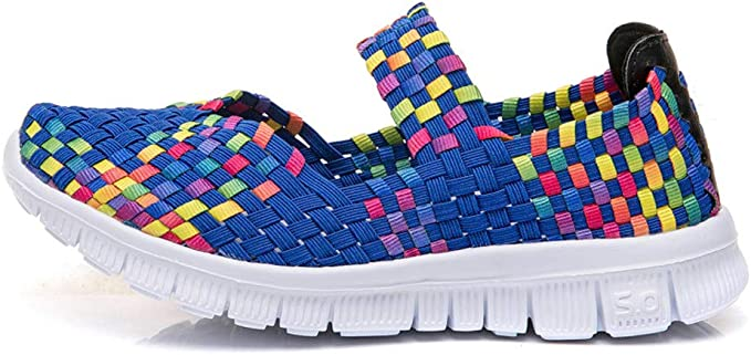Womens Flat Sandals Trainers Ladies Casual Beach Woven Elasticated Shoes Slip On