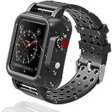 対応 Apple Watch 3 防水 バンド+ケース アップルウォッチ3 38mm 42mm カバー シリコン スポーツ IP65防水 防塵 傷防止 防衝撃 TPU材質 全面保護ケース Apple Watch 3 カバー(38mm)