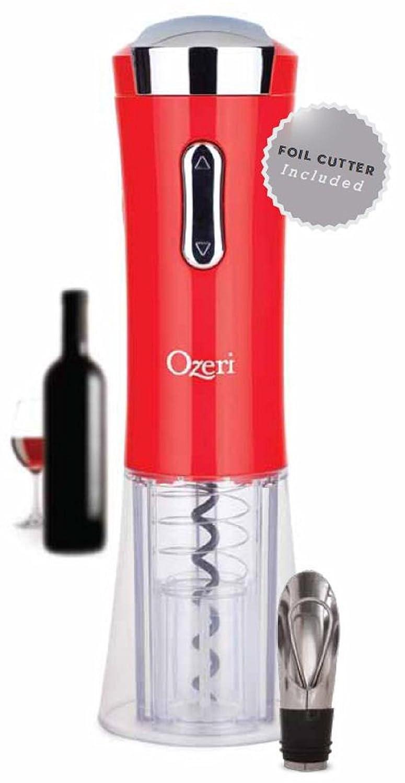 Ozeri Nouveaux II Electric Wine Opener, con tagliacapsule, versatore e tappo Red OW02A-R2