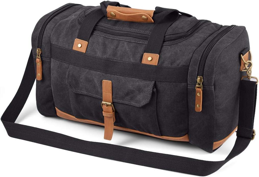 Overnight Weekend Bag Dark Grey Unisex Travel Duffle Weekender Bag for Men and Women Gym Bag Plambag Expandable Canvas Duffle Bag for Men 50L Large Holdalls for Men with Multi-pockets 40L