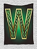 asddcdfdd Modern Tapestry, Golden Figure with Emerald Tones Alluring Color Letter Super Hero Icon Artsy Graphic, Wall Hanging for Bedroom Living Room Dorm, 40 W x 60 L Inches, Jade Green