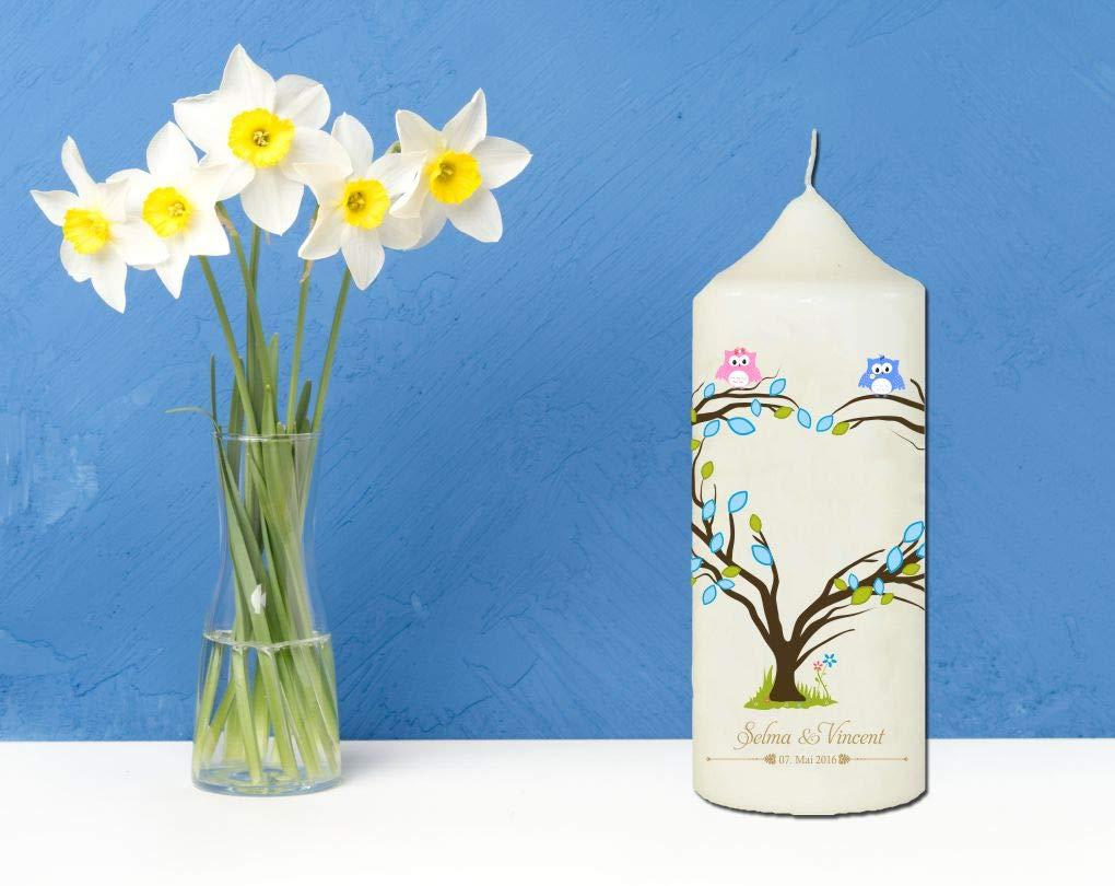f/ür Zwillinge mit Herzbaum Creme Mein Zwergenland Personalisierte Kerze zur Taufe mit Name und Datum Motiv 15