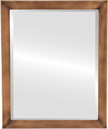 Rectangle Beveled Wall Mirror for Home Decor – Vienna Style – Sunset Gold – 22×26 Outside Dimensions