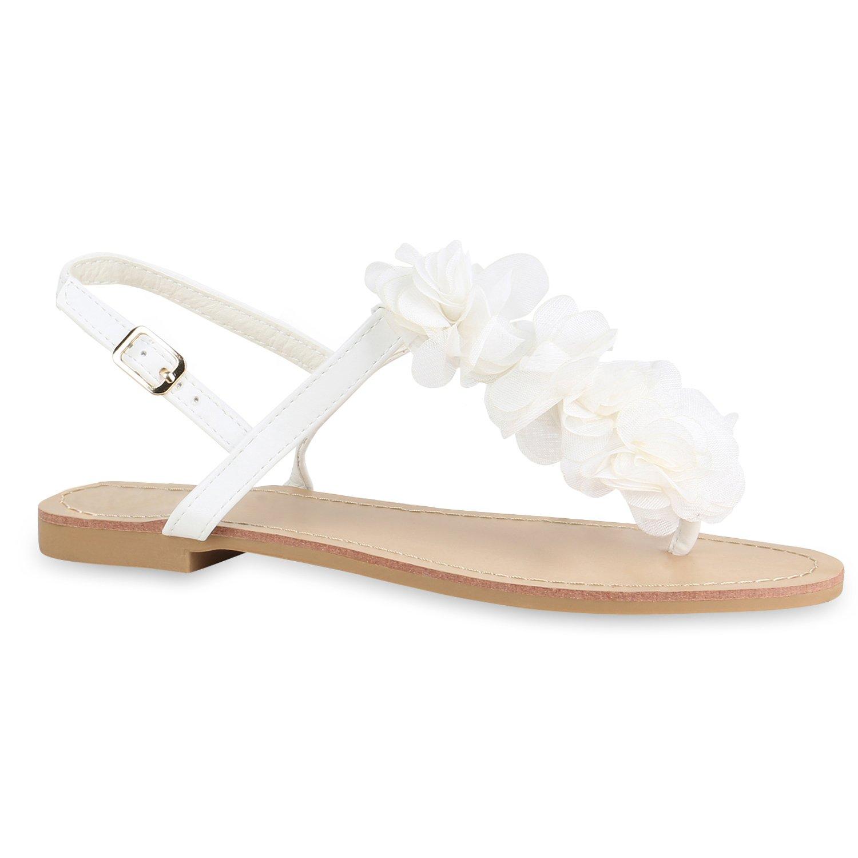 Stiefelparadies Damen Sandalen Zehentrenner mit Blockabsatz Flandell  40 EU|Weiss Camargo