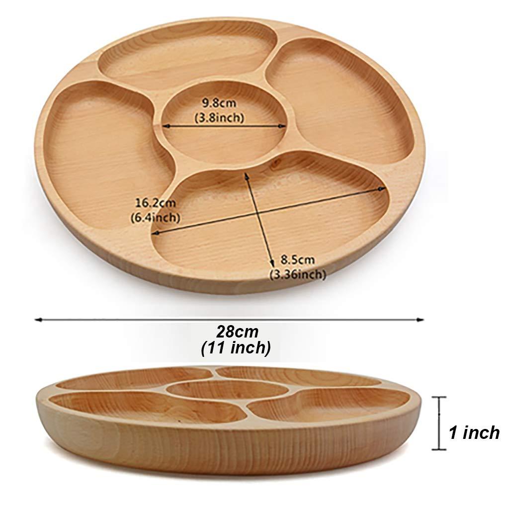 Best Wood Divided Serving Tray 11 inch Round Dessert Dish Sandwich Appetizer Salad Plates Vegetable Cheese Platter by Ren Handcraft (Image #6)