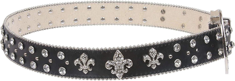 BBBelts Women Black Leather Clear Zircon Overlay Silvered Western Buckle Belt