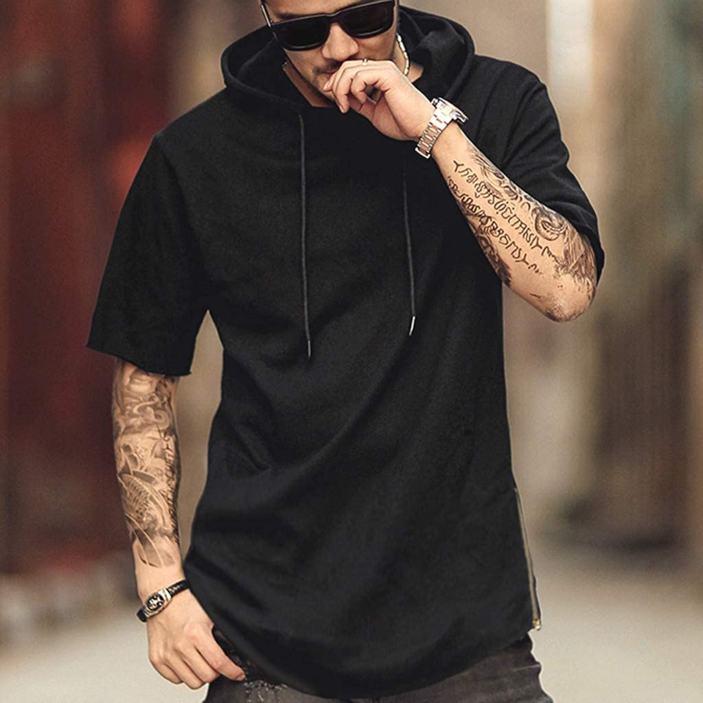 Usstore Mens Hoodie Shirt Pleated Short Sleeve Muscle O-Neck Summer Casual Cozy Loose Sports Day Drawstring Tee T-Shirt