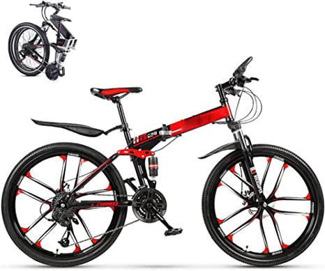 Bicicleta Montaña Plegable Hombre Mujer,MTB Todoterreno Bike Bici Ruedas de 26 pulgadas 24 Velocidades Frenos de Doble Disco Bicicleta De Trekking para Adultos Estudiantes Mountain Bike,Rojo: Amazon.es: Deportes y aire libre
