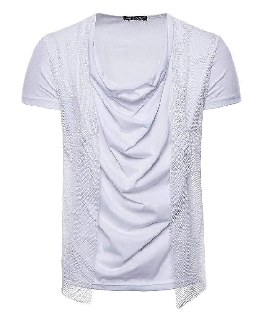 Pandapang Mens Hip Hop Pleated Cowl Neck Mesh Short Sleeve Loose Top Tee T-Shirts