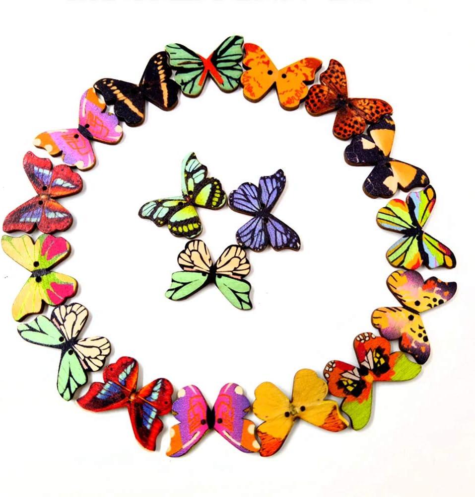 IEUUMLER 100 Pezzi Disegno Bottoni in Legno Farfalla Colorati con 2 Fori per Scrapbooking Cucito e Lavorazione Fai da Te IE066 100pcs Butterfly