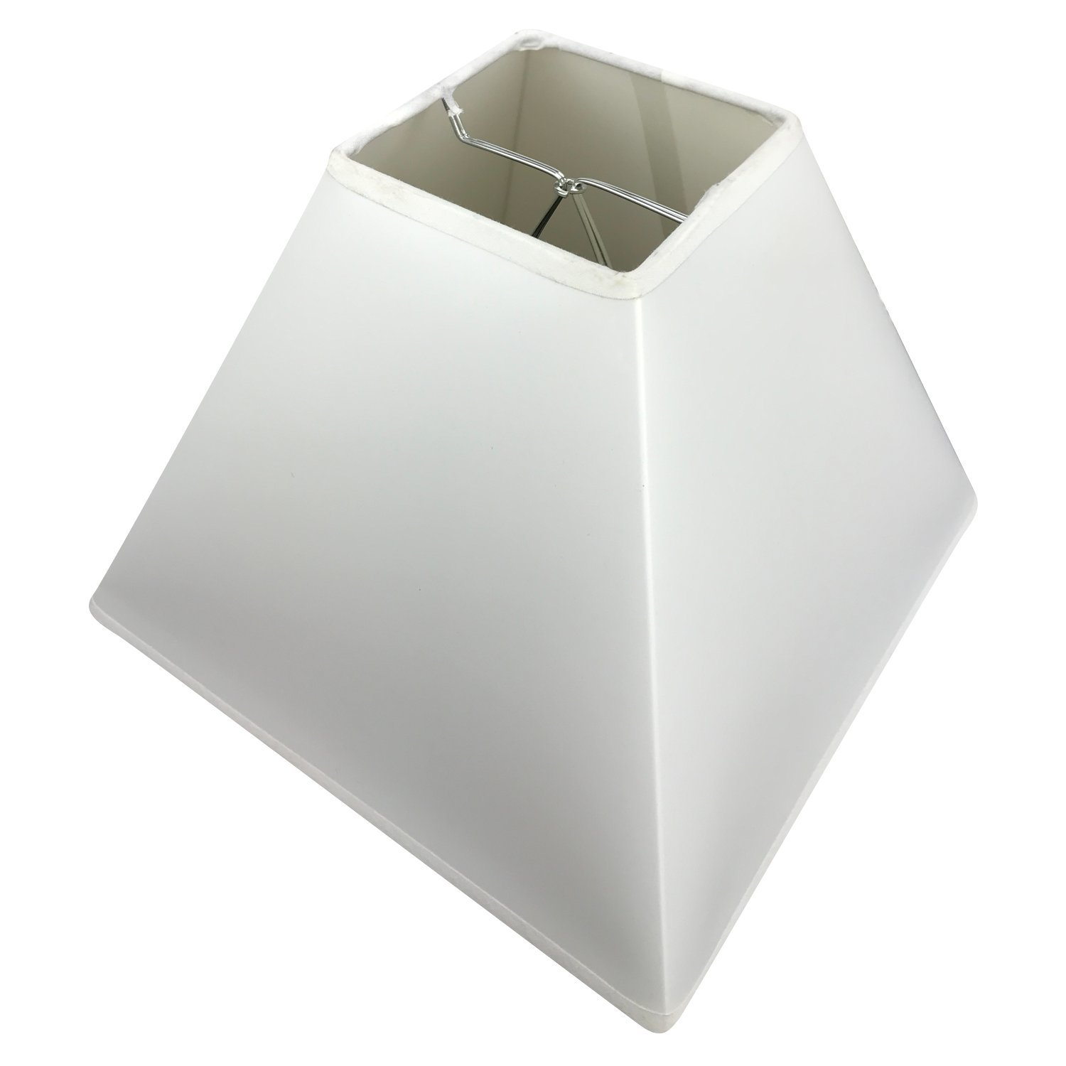 FenchelShades.com 4'' Top Dimension x 10'' Bottom Dimension 8'' Slant Height Square Lampshade USA Made (White Plastic)