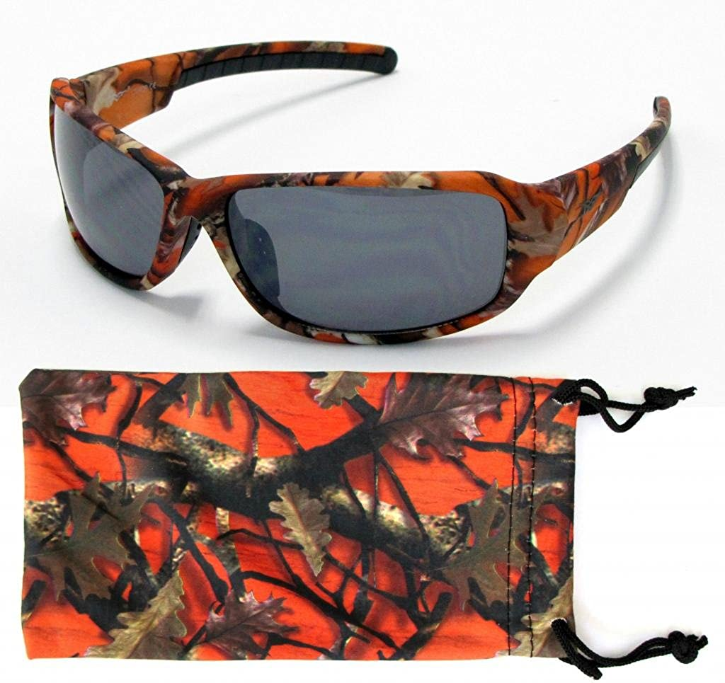 f01529f15f8 Amazon.com  VertX Mens Sport Camouflage Sunglasses Fishing Hunting Outdoor  Free Micorfiber Camo Pouch – Orange Camo Frame – Smoke Lens  Clothing