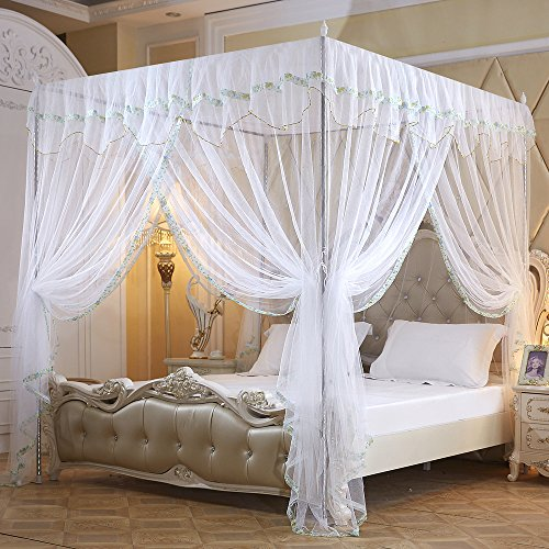 Flower Corner (Nattey Flowers 4 Corners Princess Bedding Curtain Canopy Mosquito Netting Canopies (Queen, White))