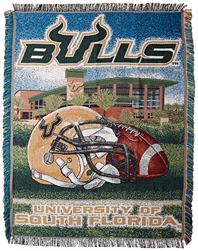 The Northwest Company Officially Licensed NCAA South Florida Bulls Home Field Advantage Woven Tapestry Throw Blanket, 48