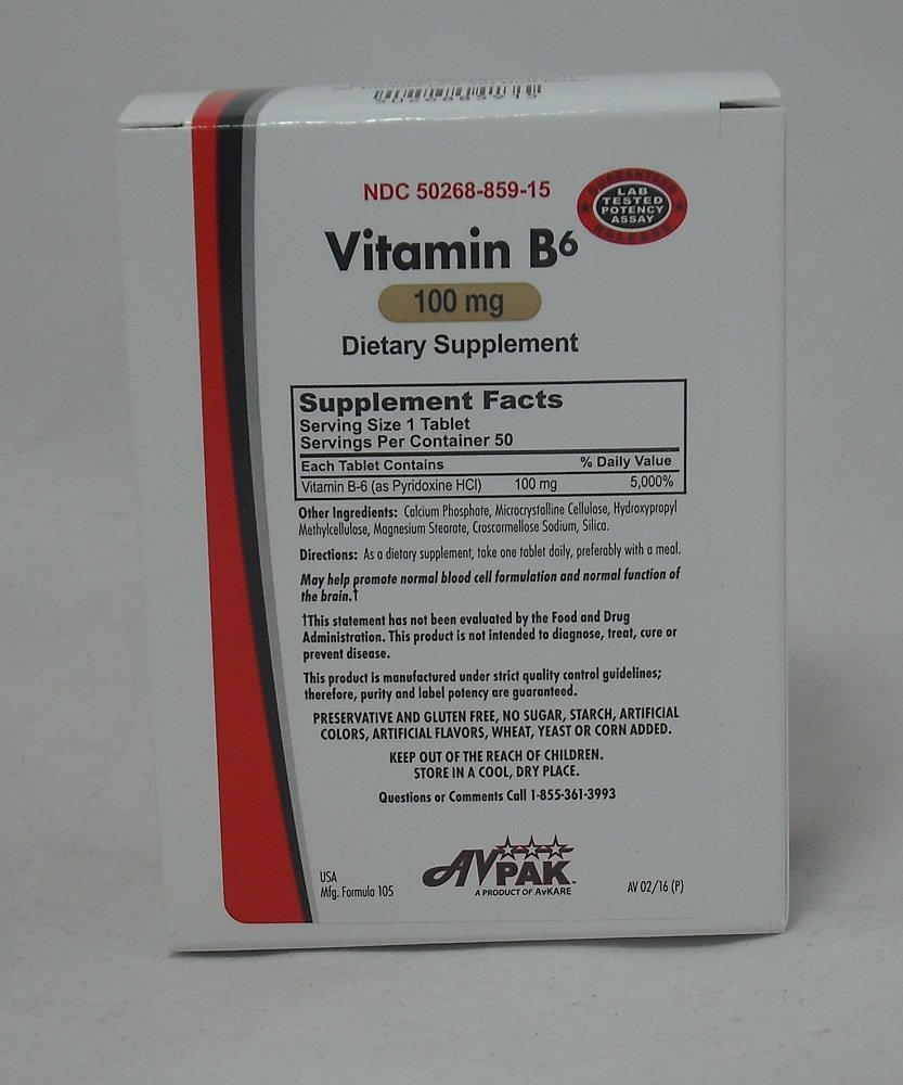 Vitamin B-6 Tablets 100 MG, 50 Count (3 Pack)