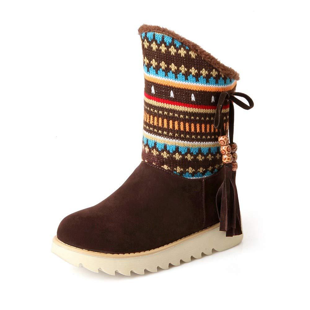 Wadonerful Women Snow Boots Round Toe Low Heel Flat Shoes Retro Tassel Folk-Custom Ankle Booties Plus Velvet Warm Boot by Wadonerful-Boots