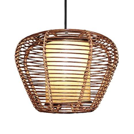 Lxxzz Manual LED Lámpara De Techo E27 Viña De Bambú Cono ...