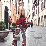 Ankola Women Camouflage Pants, Women Sports Camo Cargo Pants Outdoor Casual Camouflage Trousers (Red, L)