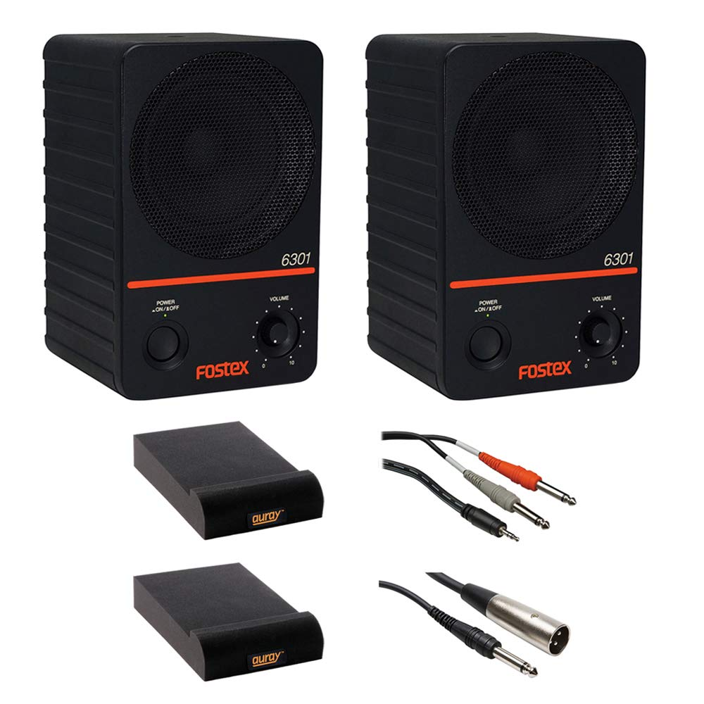 Fostex 6301NE - 4'' Active Monitor Speaker 20W D-Class (Pair) with IP-S Isolation Pad (Small, Pair), Stereo Mini Cable 10' & XLR-TRS Cable Bundle