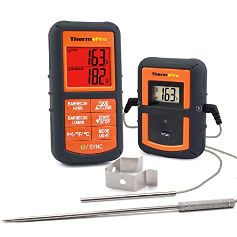 ThermoPro TP-08S Wireless Remote Digital Cooking Meat Thermometer Dual  Probe for Grilling Smoker BBQ Food Thermometer - Monitors Food from 300  Feet