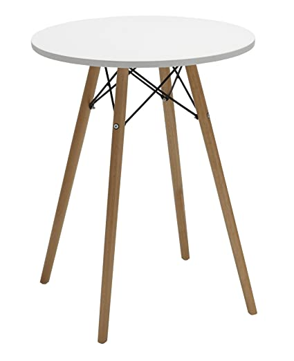 Duhome 24u0026quot; Round Dining Table MDF Top Wooden Leg Stylish Eames Style  Space Saving Breakfast