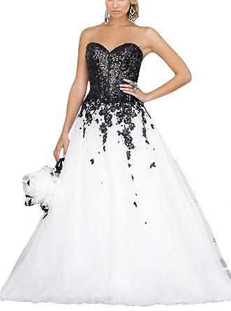 Women\'s Sweetheart Sequin Tulle Long Evening Prom Dresses Formal ...