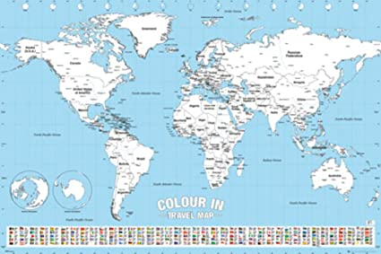 Amazon world map travel color in chart poster 24x36 posters world map travel color in chart poster 24x36 gumiabroncs Images