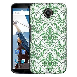 Motorola Nexus 6 Case, Slim Fit Snap On Cover by Trek Damasks Stunning Green on White Case