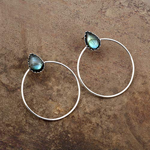 Labradorite Earring Blue Earring Pear Shape Earring 12 X 9 MM pear Boho Earring Gypsy Earring Natural Gemstone Earring Religious Earring Inspired and Flashy stone Earring necklace Engagement Gift. ()