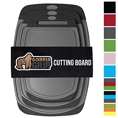 GORILLA GRIP Original Reversible Cutting Board (3-Piece), BPA Free, Juice Grooves, Larger Thicker Boards, Easy Grip Handle, Dishwasher Safe, Non-Porous, Extra Large, Kitchen (Set of Three: Gray/Black)