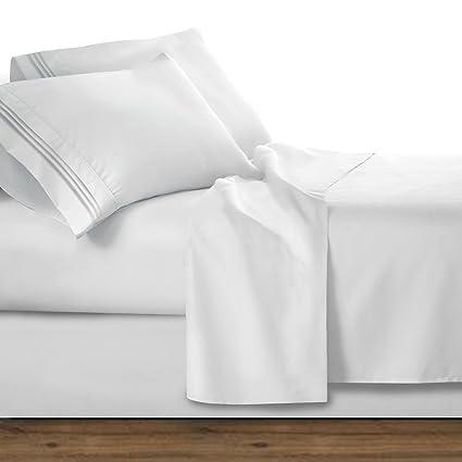Superbe Clara Clark Premier 1800 Series 4pc Bed Sheet Set   Queen, White