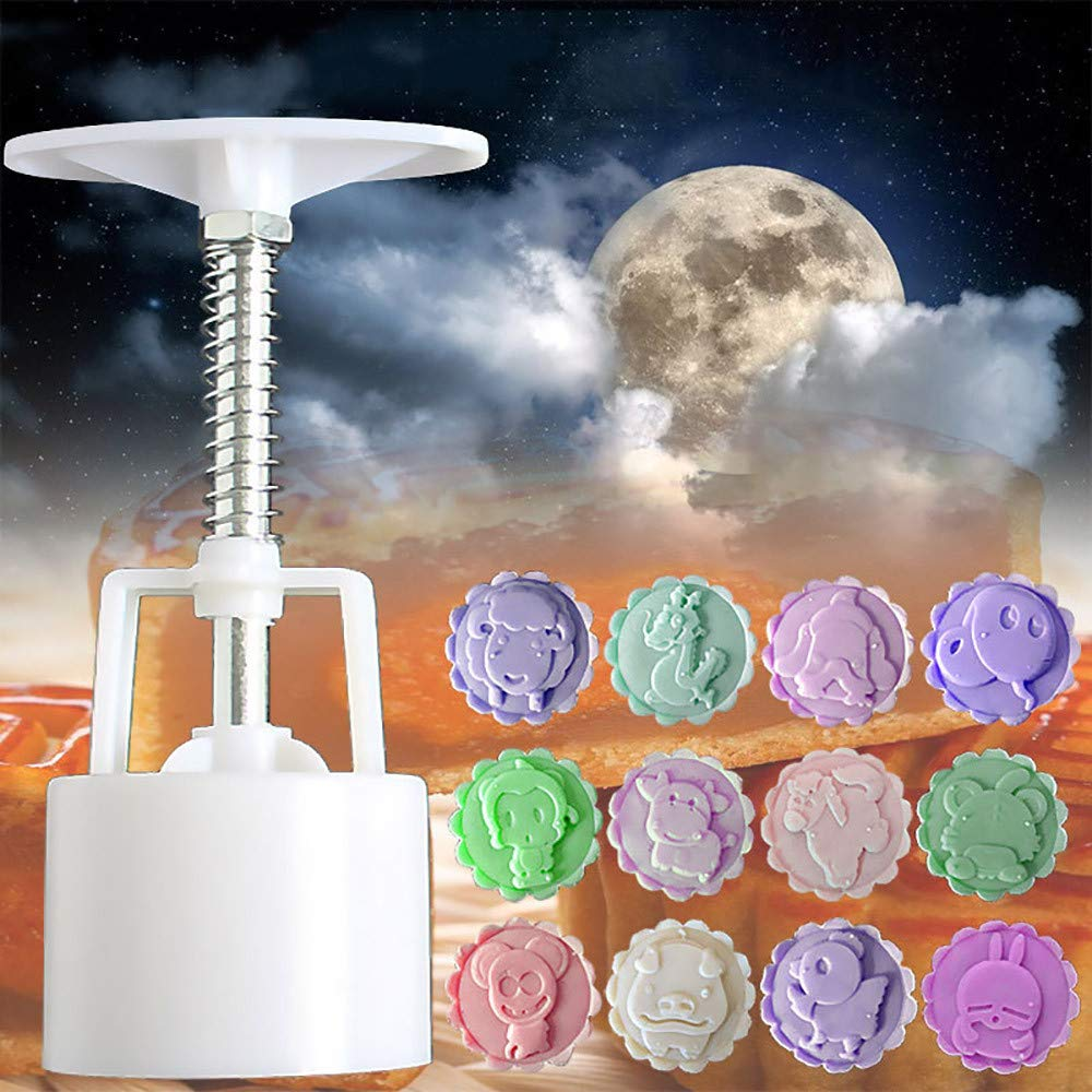 Amazon.com: Gessppo 1 Set 12pcs Mooncake Biscuits Mold Dessert Mould Animal Mid-Autumn Festival Hand Press Moon Cake Cutter Pastry Mould Set: Kitchen & ...