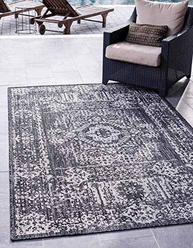 Unique Loom Outdoor Traditional Collection Distressed Vintage Medallion Transitional Indoor and Outdoor Flatweave Charcoal Gray  Area Rug (6' 0 x 9' 0)