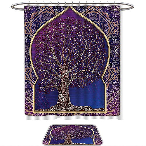 QINYAN-Home Prints Decorate The Bathroom Indian Decor Tree with Curved Leafless Branches Middle Eastern Moroccan Arch Retro Art Design Purple Blue. Bathroom Sets(Ten Sizes Select)