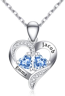 Name Necklace in Sterling Silver 925 Customized Heart Shaped Necklace with Any 4 Names 4 Birthstones Necklace