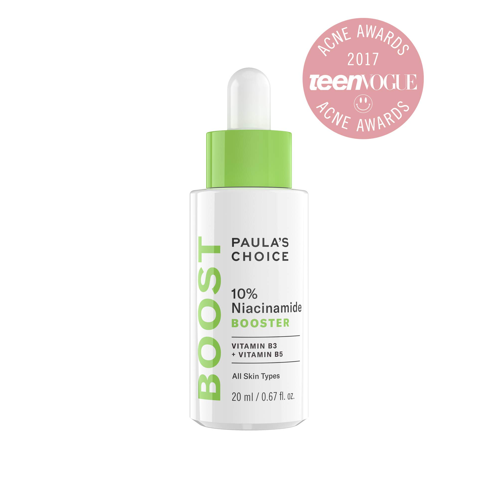 Paula's Choice BOOST 10% Niacinamide (Vitamin B3) Booster, 0.67 Ounce Bottle for Enlarged Facial Pores & Wrinkles-Normal Oily Dry Skin
