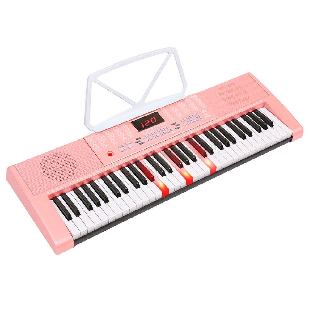 KYOKIM Tastiera Intelligente per Bambini Adulti 61 Tastiera Elettronica Portatile con Microfono rosa per Pianoforte