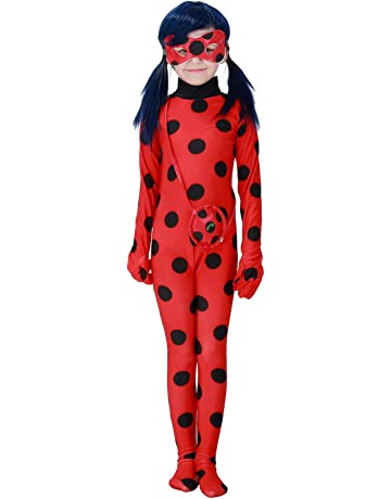 Eleasica Enfant Miraculous Ladybug Costume Combinaison Masque Sac Manches  Longues Cosplay Rouge A Pois Respirant Doux b428e0580df