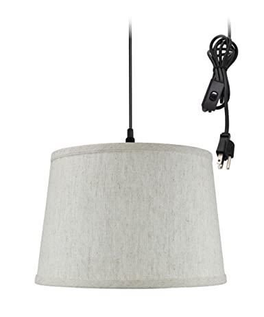 Plug In Pendant Light By Home Concept Hanging Swag Lamp Textured Oatmeal Perfect