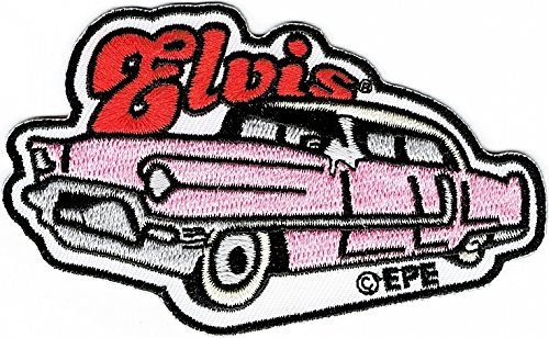Elvis Presley Pink Caddy Embroidered Iron-On Patch [White - 3.75