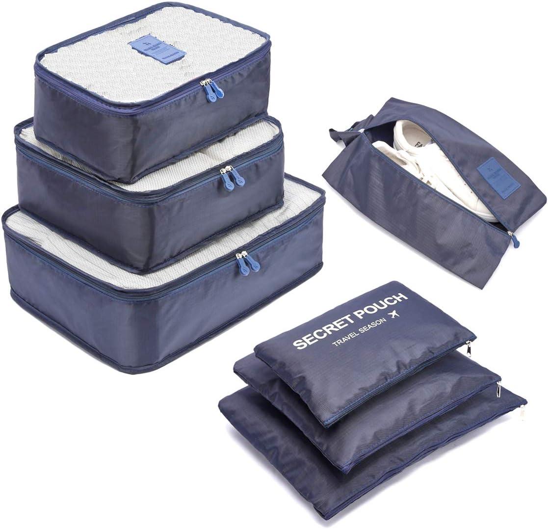 Organizador de Equipaje,LOSMILE 7 en 1 Set Impermeable Organizadores de Viaje para Maletas,3 Cubos de Embalaje +3 Bolsas de Almacenamiento+1 Saco de Zapatos.(Azul Oscuro)