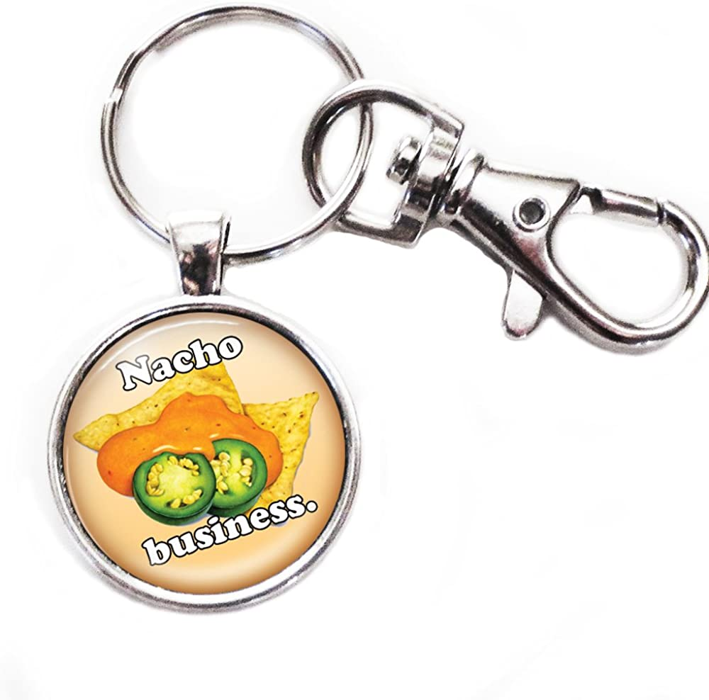 Nacho Business - Silver Keychain with Glass Image, Large Lobster Claw