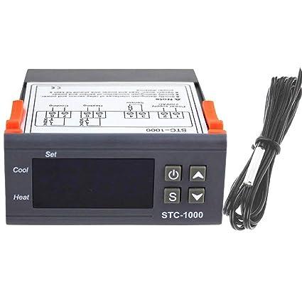 vige Controlador de Temperatura de Uso múltiple Digital Profesional STC-1000 Termostato Acuario con Cable