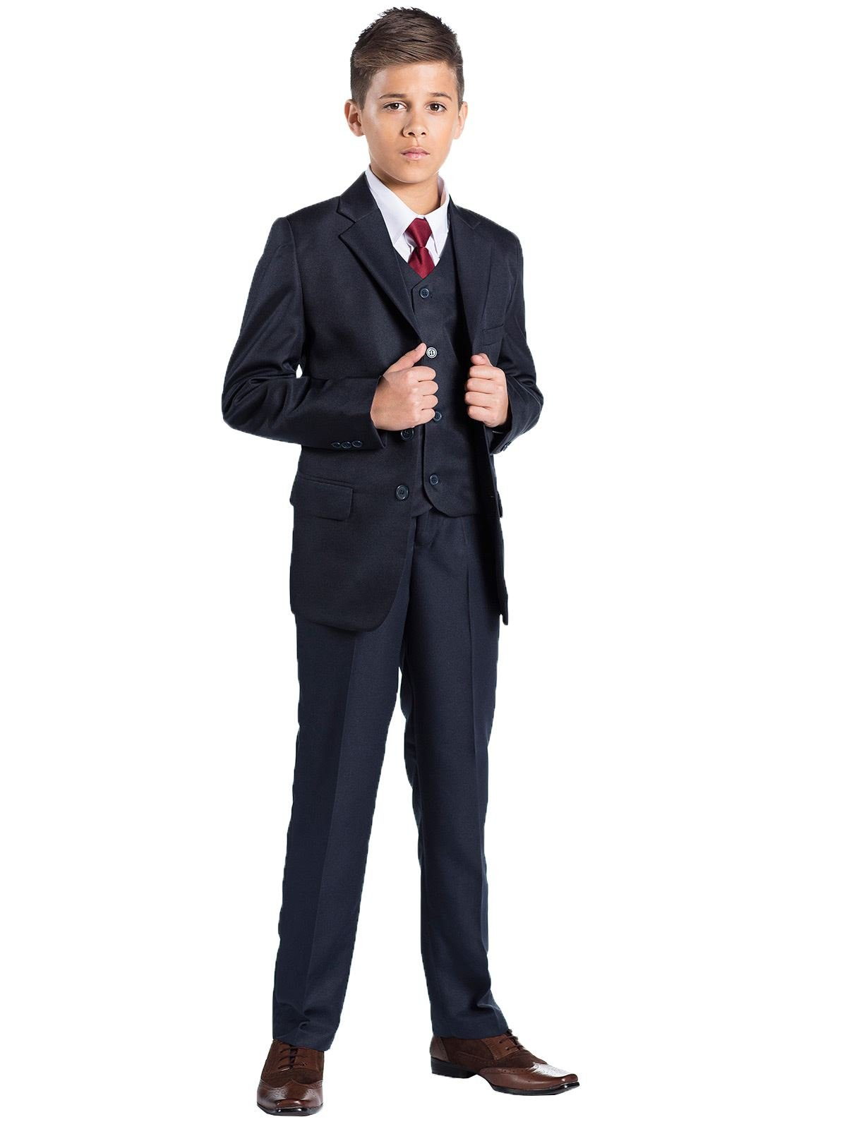 Shiny Penny, Boys Formal 5 Piece Suit Set with Shirt & Vest, Boys Navy Suit, 12