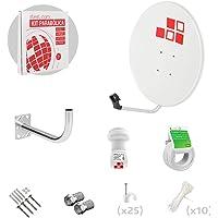 Diesl.com - Kit Parabólica 60cm + LNB + Soporte + 25 Metros de cable + Tacos a pared + Conectores + 10x Bridas