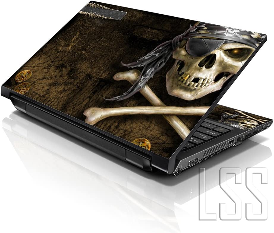 """LSS Laptop 15 15.6 Skin Cover with Colorful Pirate Skull Pattern for HP Dell Lenovo Apple Asus Acer Compaq - Fits 13.3"""" 14"""" 15.6"""" 16"""" (2 Wrist Pads Free)"""